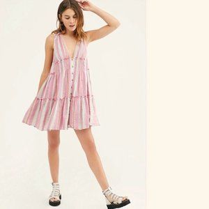 Free People Pink Multicolor Mini Dress Size S